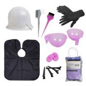 BMC Hair Dye Colouring DIY Beauty Salon Tool Kit- Highlighting Cap, Hook, Long Brush, Bowl, Clip, Cape
