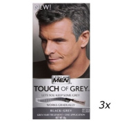 3 x Touch Of Grey Mens Hair Treatment Colour Multi Pack Black - Grey T55