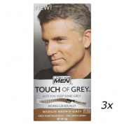 3 x Touch Of Grey Mens Hair Treatment Colour Multi Pack Medium Brown - Grey T35