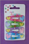 4 Heart Pvc Plastic Hair Slides IN7399