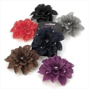 H20309 Brown Fabric Flower Clip with crystal tips Hair Accessory