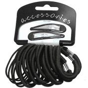 22 Black Hair Slides & Hair Elastics AJ2461