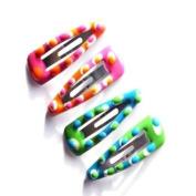 4 Girls Mini Green & Pink Plastic Hair Slides IN4420