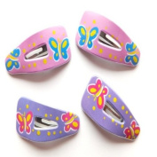 4 Girls Pink & Lilac Butterfly Plastic Hair Slides IN8850