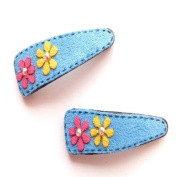 2 Blue Suede Daisy Hair Slides IN4189