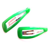2 Bright Green Plastic Hair Slides IN8383