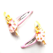 2 Girls Pink Ballerina Plastic Hair Slides IN6570
