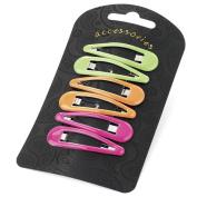 6 Neon Green Orange Pink Plastic Hair Slides AJ26860