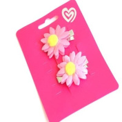 2 Pink & Yellow Fabric Daisy Beak Clips EA5764