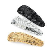 3 Silver Gold Black Sequin Hair Slides AJ24981
