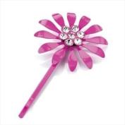Hot Pink Crystal Flower Metal Hair Grip AJ20536