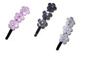Pink & Black Triple Flower Plastic Hair Grip EA1704