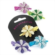 Pink Glitter Flower Mini Beak Clip AJ21688
