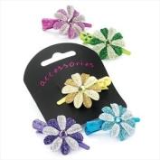 Pink Glitter Flower Mini Beak Clip AJ21688
