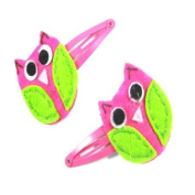 2 Girls Hot Pink Felt Owl Hair Slides/ Clips LP2730