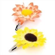 2 Peach & Yellow Sunflower Fabric Hair Slides AJ23320