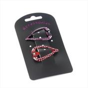2 Purple & Red Open Heart Dotty Hair Slides AJ24292
