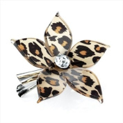 Brown Leopard Print Flower Plastic Beak Clip/Slide AJ24960