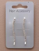 2 Clear Crystal Silver Wavey Hair Grips IN9554