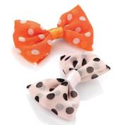 2 Peach & Pink Chiffon Spotty Bow Beak Clips AJ23339