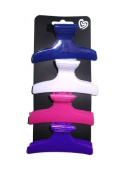 4 Pink & Purple Plastic Hair Dressing Clamps EA5995