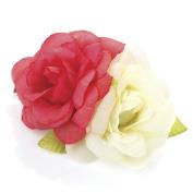 Coral & Cream Double Rose Beak Clip/Slide AJ26783
