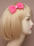 Hot Pink Crinkle Fabric Bow Beak Clip IN9541