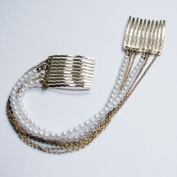 Hair Chain Combs : Short Gold Chain & Plastic Pearl