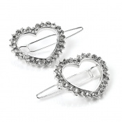 2 Silver Heart Crystal Hair Clips AJ25807