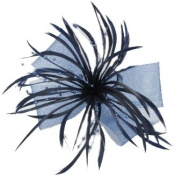 NAVY BLUE LOOPED MESH BOW HAIR FASCINATOR WITH SPLIT FEATHERS AND SPRAYS OF BEADS ON SINGLE PRONG SPRUNG ALLIGATOR CLIP / PIN FOR BUTTONHOLE