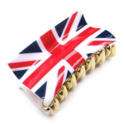 Red White Blue Union Jack Plastic Hair Clamp LA876
