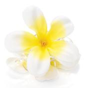 White & Yellow Fabric Flower Hair Clamp AJ23479