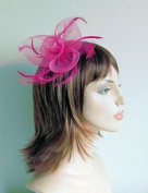 QUALITY BOXED BRIGHT PINK MESH FLOWER SHAPED HAIR FASCINATOR WITH CENTRED RHINESTONES AND MATCHING FEATHERS FINISHED ON SPRUNG CLIP AND PIN FOR BUTTONHOLE