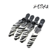 CROCODILE Thick Hair Strong Hold Hairdressing Clips Zebra x4