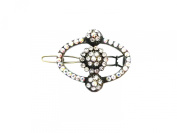 Johnny Loves Rosie Vintage Style Oval Monte Hair Clip Silver