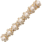 Ebuni Gold Pearls and Crystals Hair Barrette / Ladies Girls Hair Jewellery