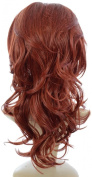 Henna Red Wavy Half Wig Extra Volume TiHaira Hairpiece | Backcombe volume style clip in half wig