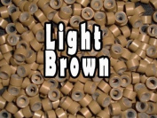 Silicone Micro Rings Beads - 100 Light Brown 5mm rings for I Tip Hair Extensions or Feather Hair Extensions