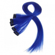 5 Pcs Coloured Clip-on In Hair Extensions Straight Wigs Hairpieces 60cm Long - Dark Blue