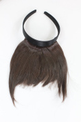 Hair Piece Clip in Bangs Fringe with hair circlet long framing strands HIGH QUALITY synthetic fibre BROWN HA071T-6