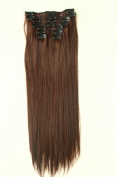 60cm Full head Clip In Hair Extension Straight Black Brown Blonde 8 Pcs