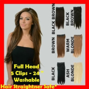 24'' Premium Quality Natural Looking BLACK BROWN Full Head Clip In Extensions STRAIGHT 60cm Washable Hair Straightner Safe* Like Human Hair