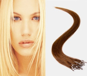 41cm Micro Loop Ring Hair Extensions-#4 Chocalate Brown-0.8g*20 strands-Remy Human Hair-Grade AAA