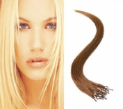41cm Micro Loop Ring Hair Extensions-#6 Medium Brown-0.8g*20 strands-Remy Human Hair-Grade AAA