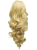 43cm PONYTAIL Clip in Hair Extensions CURLY Lightest Blonde #60 REVERSIBLE Claw Clip