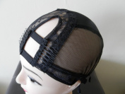 Large Black Rigth U-Part Wig Base with Adjustable Strap. Different stretchy nets for natural look