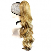 Blonde mix Long Ponytail Hair Extension Jaw/Claw Clip Wavy Hair Piece