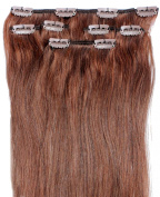 Forever Young Dark Auburn #33 Clip In Human Hair Extension Half Head 41cm