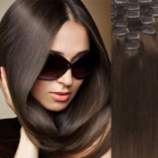 Angelcoco 100% India Remy Clip In Human Hair Extensions Chestnut Brown 38cm 7pcs/set 70g Straight