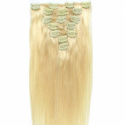 Angelcoco 100% India Remy Clip In Human Hair Extensions Bleach Blonde 38cm 7pcs/set 70g Straight